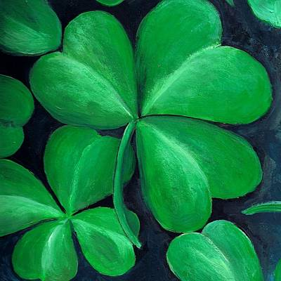 St Painting - Shamrocks by Nancy Mueller