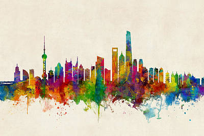 Michael Digital Art - Shanghai China Skyline by Michael Tompsett