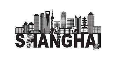 Photograph - Shanghai China Skyline Text Black And White Illustration by Jit Lim