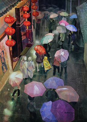 Raincoats Painting - Shanghai Shoppers by Kris Parins