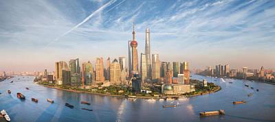 Shanghai Skyline Art Print by Anek Suwannaphoom