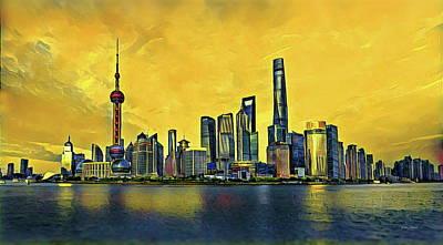 Shanghai Skyline - China Art Print by Russ Harris