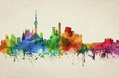 Shanghai Skyline Chsh05 Art Print