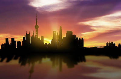 Shanghai Skyline Sunset Chsh22 Art Print