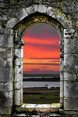 Photograph - Shannon Sunrise Through Medieval Arch by James Truett