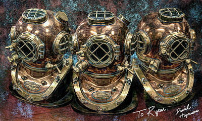 Digital Art - Shannon's Helmets 2 by Daniel Hagerman