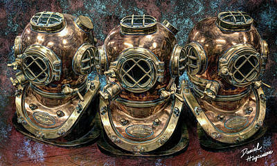 Digital Art - Shannon's Helmets by Daniel Hagerman