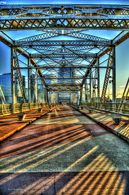 Photograph - Shapes And Shadows The John Seigenthaler Pedestrian Bridge Nashville Tennessee Art by Reid Callaway