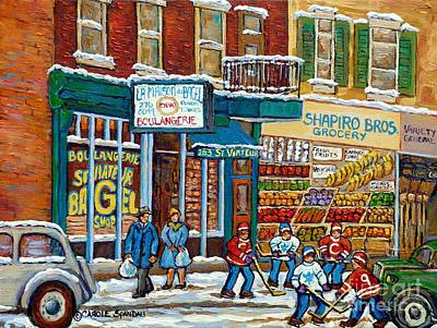 Painting - Shapiro Bros Vintage Grocery Store Rue St Viateur Montreal Memories Painting Carole Spandau          by Carole Spandau