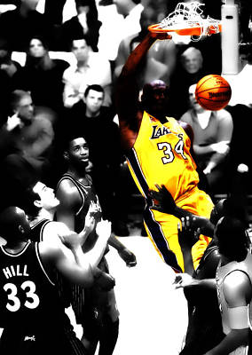 Louisiana State University Digital Art - Shaq Monster Slam by Brian Reaves