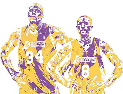 Mixed Media - Shaquille Oneal Kobe Bryant Los Angeles Lakers Pixel Art 1 by Joe Hamilton