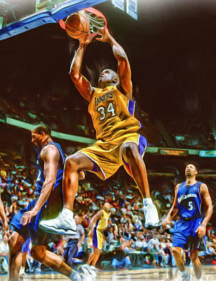 Shaquille O'neal Los Angeles Lakers Oil Art Art Print by Joe Hamilton