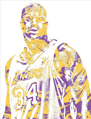 Mixed Media - Shaquille Oneal Los Angeles Lakers Pixel Art 7 by Joe Hamilton