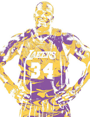 Mixed Media - Shaquille Oneal Los Angeles Lakers Pixel Art 8 by Joe Hamilton