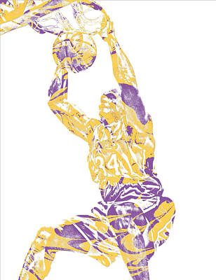 Mixed Media - Shaquille Oneal Los Angeles Lakers Pixel Art 9 by Joe Hamilton