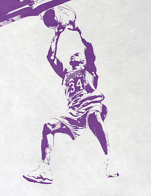 Shaquille Mixed Media - Shaquille O'neal Los Angeles Lakers Pixel Art by Joe Hamilton