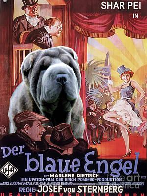 Painting - Shar Pei Art Canvas Print - Der Blaue Engel Movie Poster by Sandra Sij