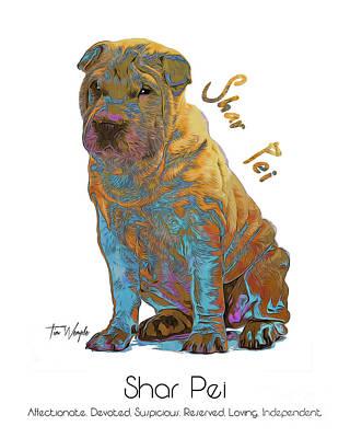 Digital Art - Shar Pei Pop Art by Tim Wemple