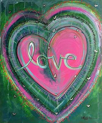 Art Print featuring the painting Share My Love Heart by Laurie Maves ART