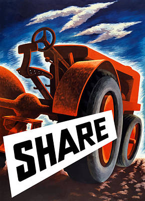 Tractors Painting - Share  by War Is Hell Store