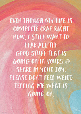 Share Your Joy- Empathy Card By Linda Woods Art Print by Linda Woods