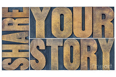 Share Your Story Word Abstract Art Print by Marek Uliasz
