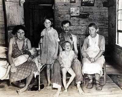 1930s Candid Photograph - Sharecropper Bud Fields And His Family by Everett