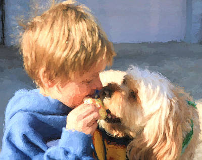 Golden Doodle Photograph - Sharing A Cookie by JC Findley