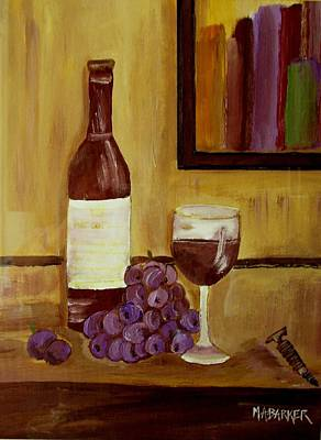 Cork Screw Painting - Sharing A Glass by Mary ann Barker