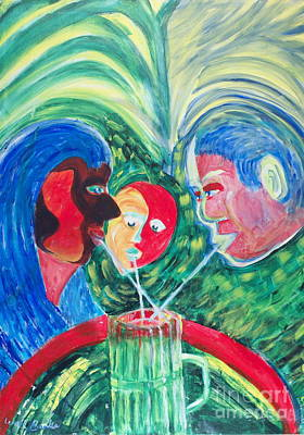 Painting - Sharing A Shake by Walt Brodis