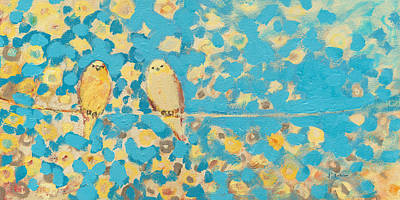 Animals Paintings - Sharing a Sunny Perch by Jennifer Lommers