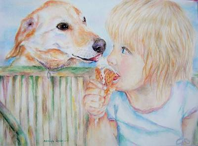 Melting Ice Painting - Sharing Ice Cream by Carolyn Gray