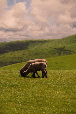 Barnyard Painting - Sharing Lunch by John K Woodruff