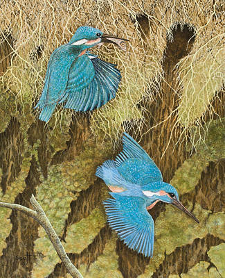Kingfisher Painting - Sharing The Caring by Pat Scott