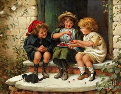 Garden Door Painting - Sharing The Cherries by Joseph Clark