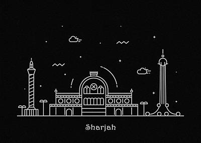 Drawing - Sharjah Skyline Travel Poster by Inspirowl Design