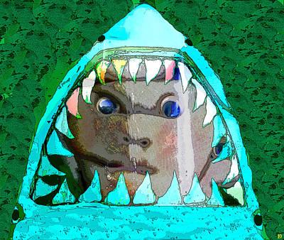 Digital Art - Shark And Face by David Lee Thompson