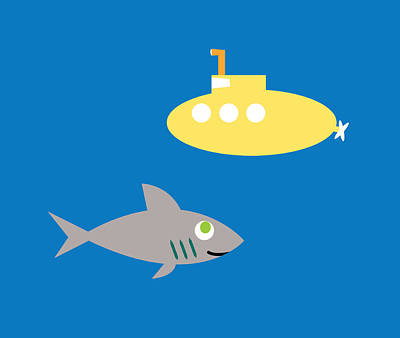 Digital Art - Shark And Submarine by Pbs Kids