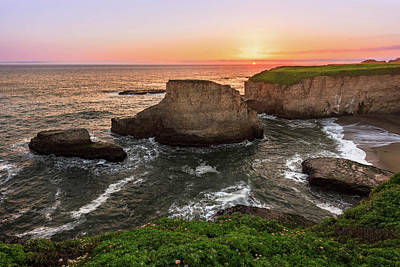 Shark Fin Cove Sunset Art Print