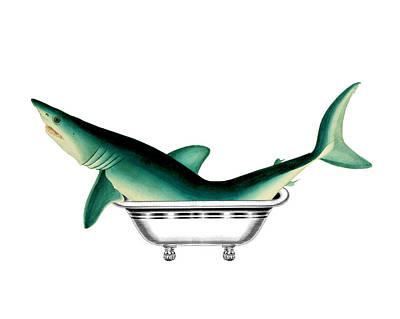 In The Bath Digital Art - Shark In The Bath by Madame Memento