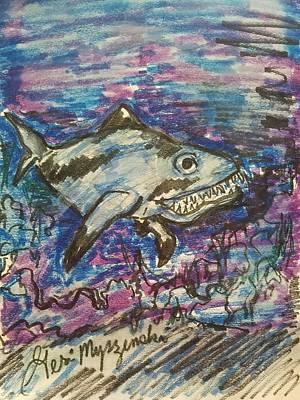 Animation Drawing - Shark In The Water by Geraldine Myszenski