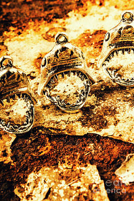 Decoration Photograph - Shark Pendants On Rusty Marine Background by Jorgo Photography - Wall Art Gallery