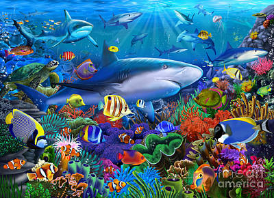 Turtle Digital Art - Shark Reef by Gerald Newton