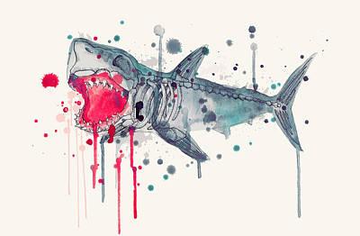 Reef Shark Drawing - Shark Skeleton 2.0 by Ludwig Van Bacon