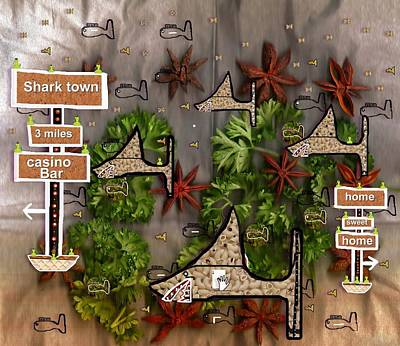Sharks Mixed Media - Shark Town by Pepita Selles