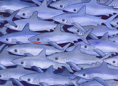 Frenzy Painting - Sharks by Catherine G McElroy