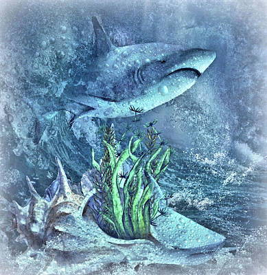 Aquatic Life Mixed Media - Sharks In The Water by G Berry