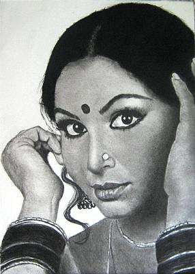 Drawing - Sharmila Tagore by Mickey Raina