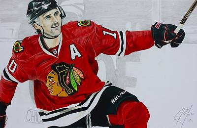 Chicago Blackhawks Drawing - Sharpie by Jonathan Moore