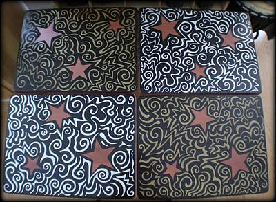Drawing - Sharpie Star Tv Table Set by Mandy Shupp